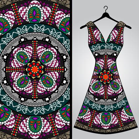 Diseño del modelo de la tela para el vestido de una mujer. Vector ilustración de moda. Diseño de la mandala. Perfecto para imprimir sobre tela o papel. Ilustración de vector