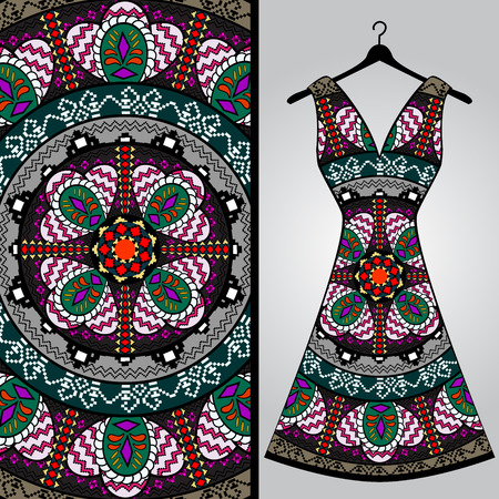 Fabric pattern design for a woman's dress. Vector fashion illustration. Design Mandala. Perfect for printing on fabric or paper.