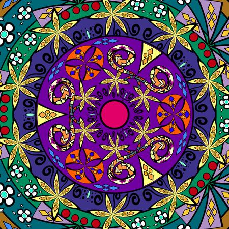 royal safari: Ethnic geometric print. Colorful repeating background texture. Fabric, cloth design, wallpaper