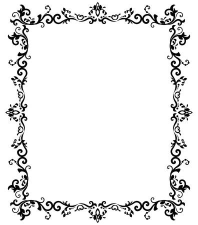 vector vintage border frame engraving with retro ornament pattern in antique baroque style decorative design Illustration
