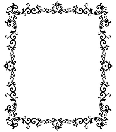 vector vintage border frame engraving with retro ornament pattern in antique baroque style decorative design Ilustração