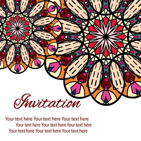 Elegante Karte mit Spitze Ornament und Platz für Text auf Hintergrund mit nahtlose Muster. Vintage-Stil. Hochzeitseinladung.