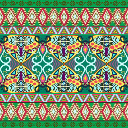 Tribal art boho seamless pattern. Ethnic geometric print. Colorful repeating background texture. Fabric, cloth design, wallpaper Ilustrace