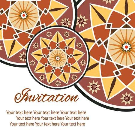 Elegant card with lace ornament and place for text on background with seamless pattern. Vintage style. Wedding invitation. Vector mandala.