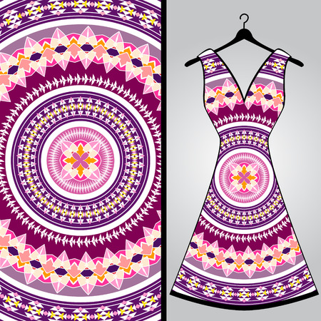 Fabric pattern design for a womans dress. Vector fashion illustration. Design Mandala.  Perfect for printing on fabric or paper.