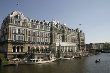 amstel: Hotel on the bank of the River Amstel Stock Photo