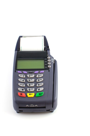 contactless: Portable Contactless Credit Card Terminal on Base Stock Photo