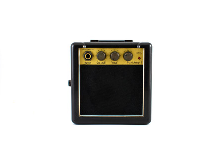 reverb: Mini guitar amplifier isolated on white background