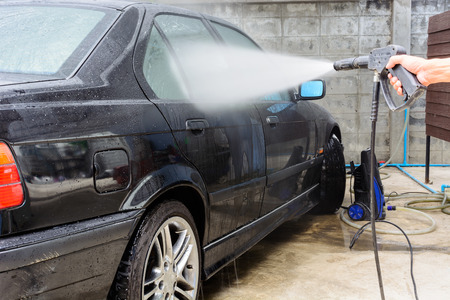 pressured: car washing cleaning with pressured water Stock Photo