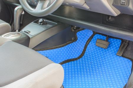 blue rubber car mats in car Zdjęcie Seryjne
