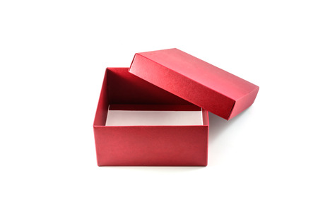 Open red cardboard gift box on white background photo