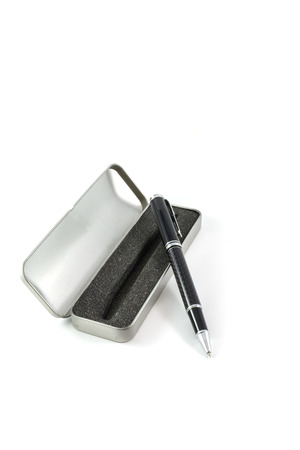 pen in a case on white background photo