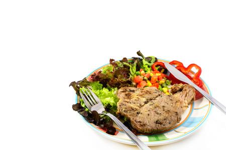 Pork steak  Kurobuta pork  with vegetable on white background photo