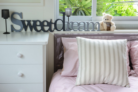 Home interior decoration, sweet dream with Teddy bear photo