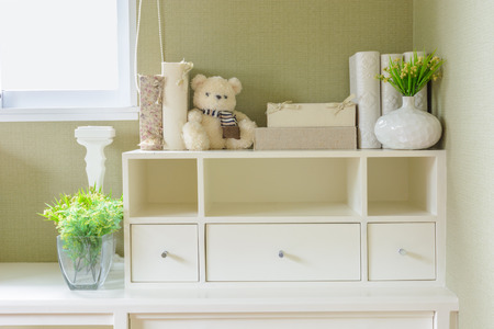 shelf and drawer in white, Home decoration photo