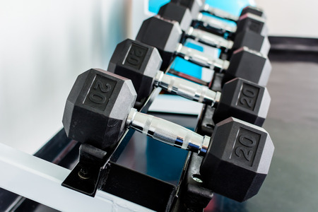 heavy weight: rows of dumbbells on a rack in a gym