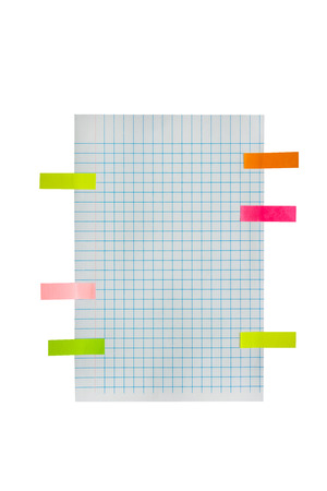 grid paper: Blue grid or graph paper background with post it