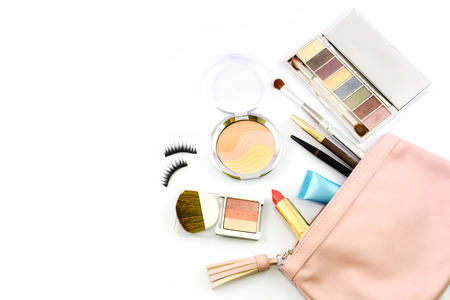 tool bag: make up bag with cosmetics isolated on white