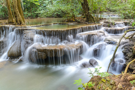 Huay Mae Kamin Waterfall at Kanchanaburi province, Thailand photo
