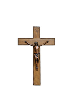 Crucifix with figure of Jesus on white background, photo