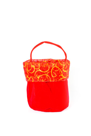 estival: Red bag for Chinese New Year isolated on white background Stock Photo