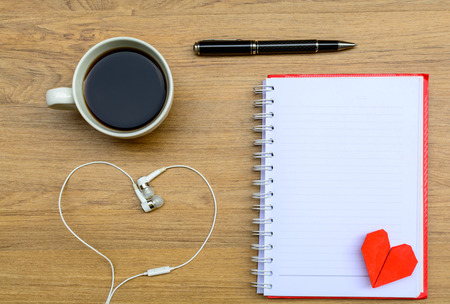 blank note book: Blank note book with coffee and headphone