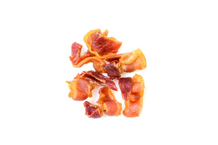 unhealthy eating: Bacon Slices isolated on white background, Unhealthy eating