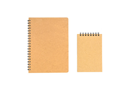 notebook: blank brown notebook isolated on white background Stock Photo
