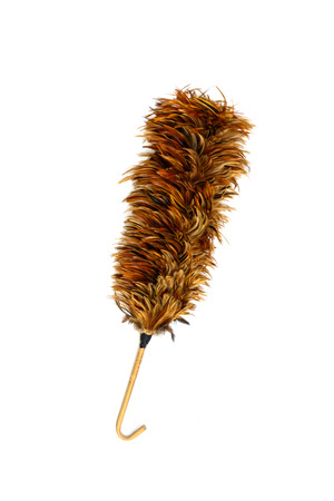 duster: Feather duster for cleaning isolated on white background