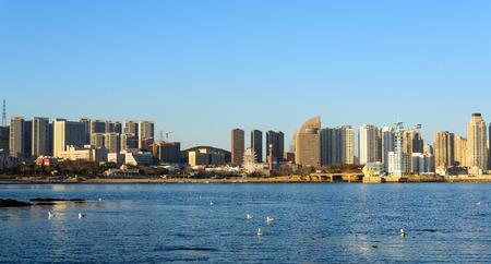 Dalian, China city and sea panorama view
