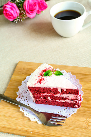 red velvet: Close up of Red velvet cake and coffee on table Stock Photo