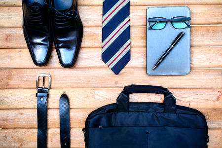 men accessories on old wooden background, Business themes