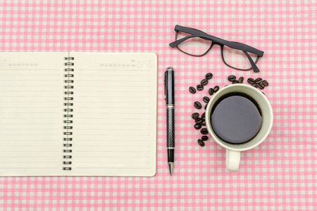 pen and paper: Blank note book with cup of coffee, Vintage style
