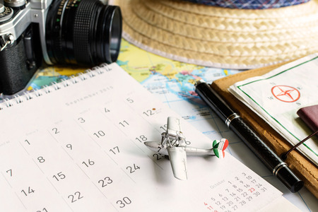 diary and calendar with passport, Travel planning 版權商用圖片