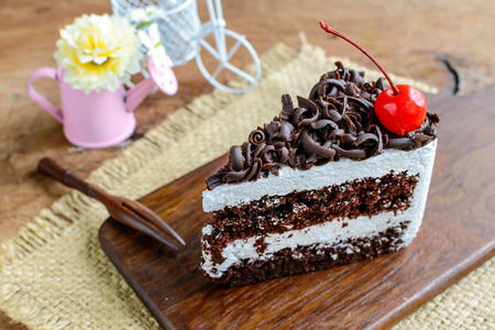 black forest: Black Forest, Chocolate cake on wooden table Stock Photo