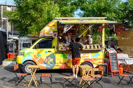 thailand food: Bangkok, Thailand 25 July,2015: People order meal from food trucks at Food Truck Fair in Bangkok.