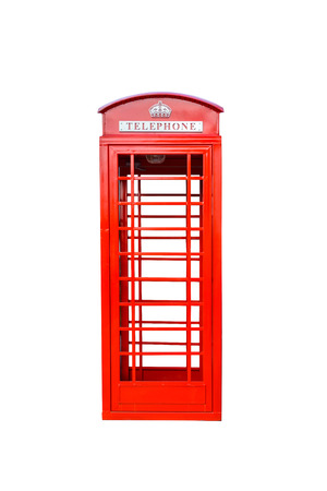 antique booth: Classic British red phone booth isolated on white