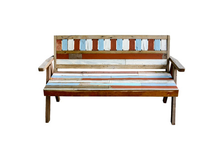 timber bench seat: Vintage wooden bench isolated on white background
