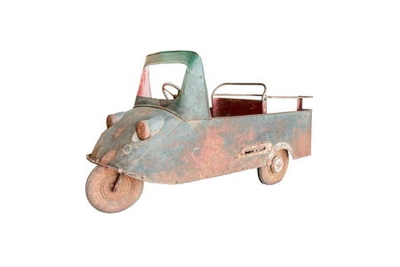 pedal: Antique Pedal Car isolated on white background, Childhood Stock Photo