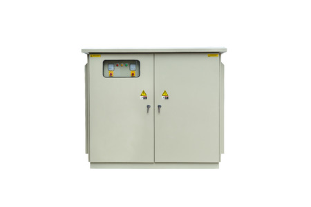 switchgear: Capacitor bank cabinet isolated on white background