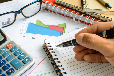 accounting: Desk office business financial accounting calculate, Graph analysis