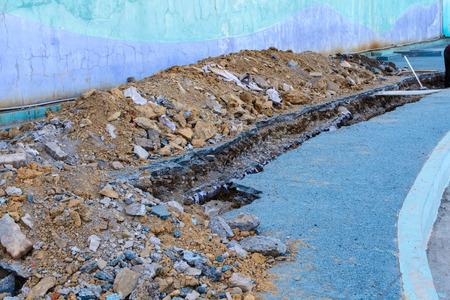 culvert: Concrete pipeline construction site at the road