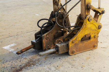drilling machine: jackhammer and drilling machine on construction site Stock Photo