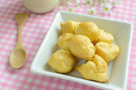 choux: Choux pastry cream puffs with milk