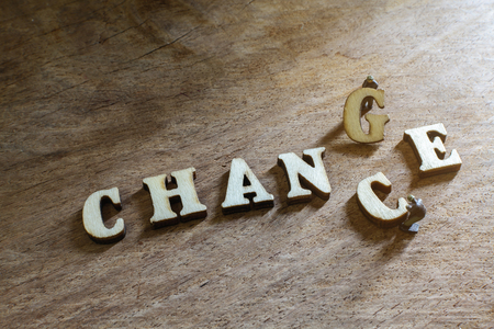 in differentiation: wooden letters of Chance and Change, word concept Stock Photo