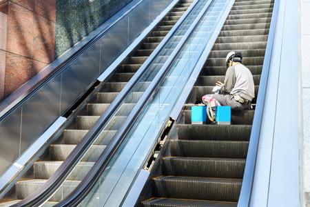 Technician Maintenance of escalators 写真素材