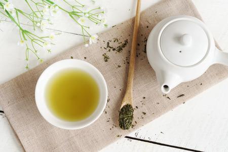 japanese green tea: Japanese green tea on white wooden table Stock Photo