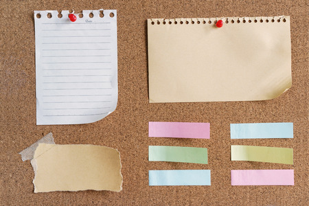 sticky notes and memo on cork board