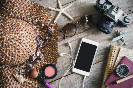 outfits: Womans casual outfits, Outfit of female traveler and copy space, Top view Stock Photo