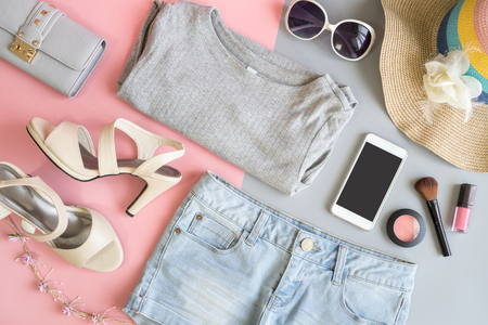 Fashion summer women clothes set with cosmetics and accessories, Flat lay, Top view